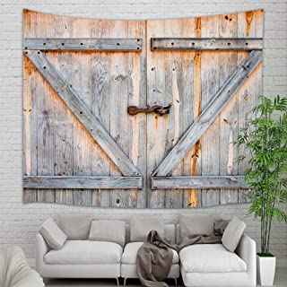 KOTOM Countryside Wood Tapestry Wall Hanging, Village Wooden Barn Door for Farmhouse Wall Tapestry Art for Home Decorations Dorm Decor Living Room Bedroom Bedspread, 80