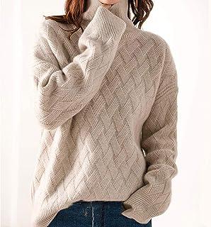 Suéteres De Mujer para El Invierno Cómodo Y Cálido Suéter De Punto Grueso De Talla Grande para Cuello Alto Suéteres Suelto...