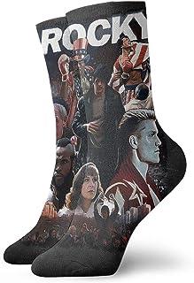 Yuanmeiju calcetines de punto Black Rocky Balboa Unisex Dress Funny Crazy Winter Warm Crew Socks