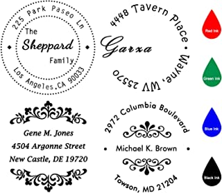 "Custom Stamp Self Inking,Personalized Stamp Return Address,1-5/8"" Diameter,Round Business Stamp for Home,Bank or Office"