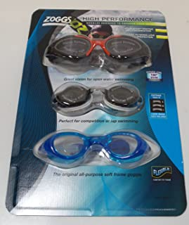 Zoggs 3 Pack High Performance Swimming Goggles Black/White/Blue