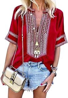 Chase Secret Womens Casual V Neck Shirt Boho Print Short Sleeve Tops Loose Blouse (S-XXL)