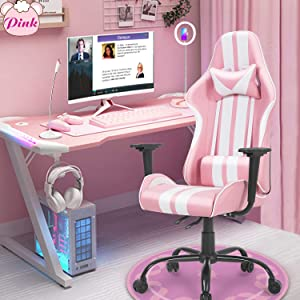 Ferghana Pink Gaming Chair,Computer Game Chair,Massage Gaming Chair with Lumbar Support, Gamer Chair Pink for Adults Teens for Gaming Room Decor, Streaming,Podcasting(Shero Pink)