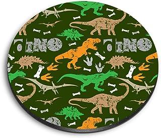 Destination 14739 Aimants ronds en MDF Motif dinosaure rustique T-Rex Dino Kids pour bureau, armoire et tableau blanc