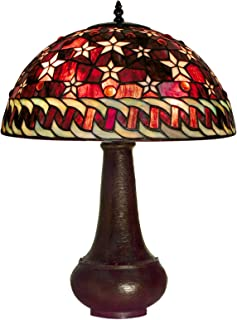 Warehouse of Tiffany PS231-BB59 Tiffany-style Red Star Onion Base Table Lamp, Red