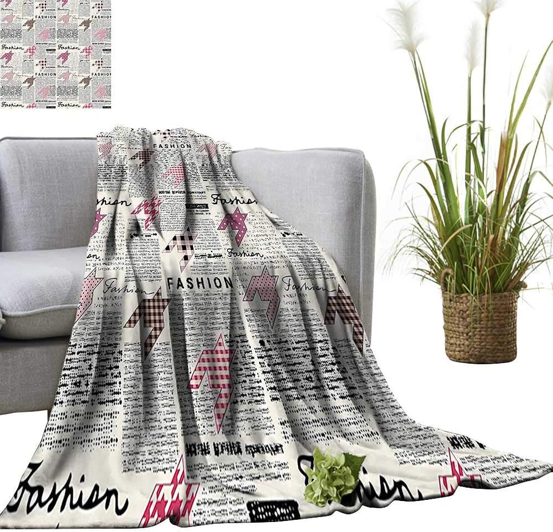 YOYI Super Soft Blanket Retro Style Newspaper with Ornamentals Modishness Bedsure Flannel 50 x70