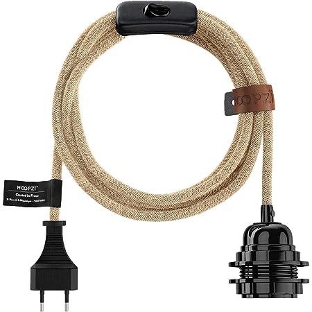 Hoopzi - Bala - Fil électrique en Tissu de 4,5 mètres - 36 Coloris - Douille E27 avec Interrupteur - Pour Suspension Luminaire ou Lampe Créative - Ficelle