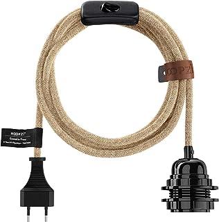 Hoopzi - Bala - Fil électrique en Tissu de 4,5 mètres - 36 Coloris - Douille E27 avec Interrupteur - Pour Suspension Lumin...