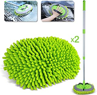 Sfumoc 2 in 1 Extendable Car Wash Brush Kits Mop with Long Handle, Chenille Microfiber Car Cleaning Kit Brush Duster-Scratch Free- car wash Tools for Washing Truck, Car, RV (Green)