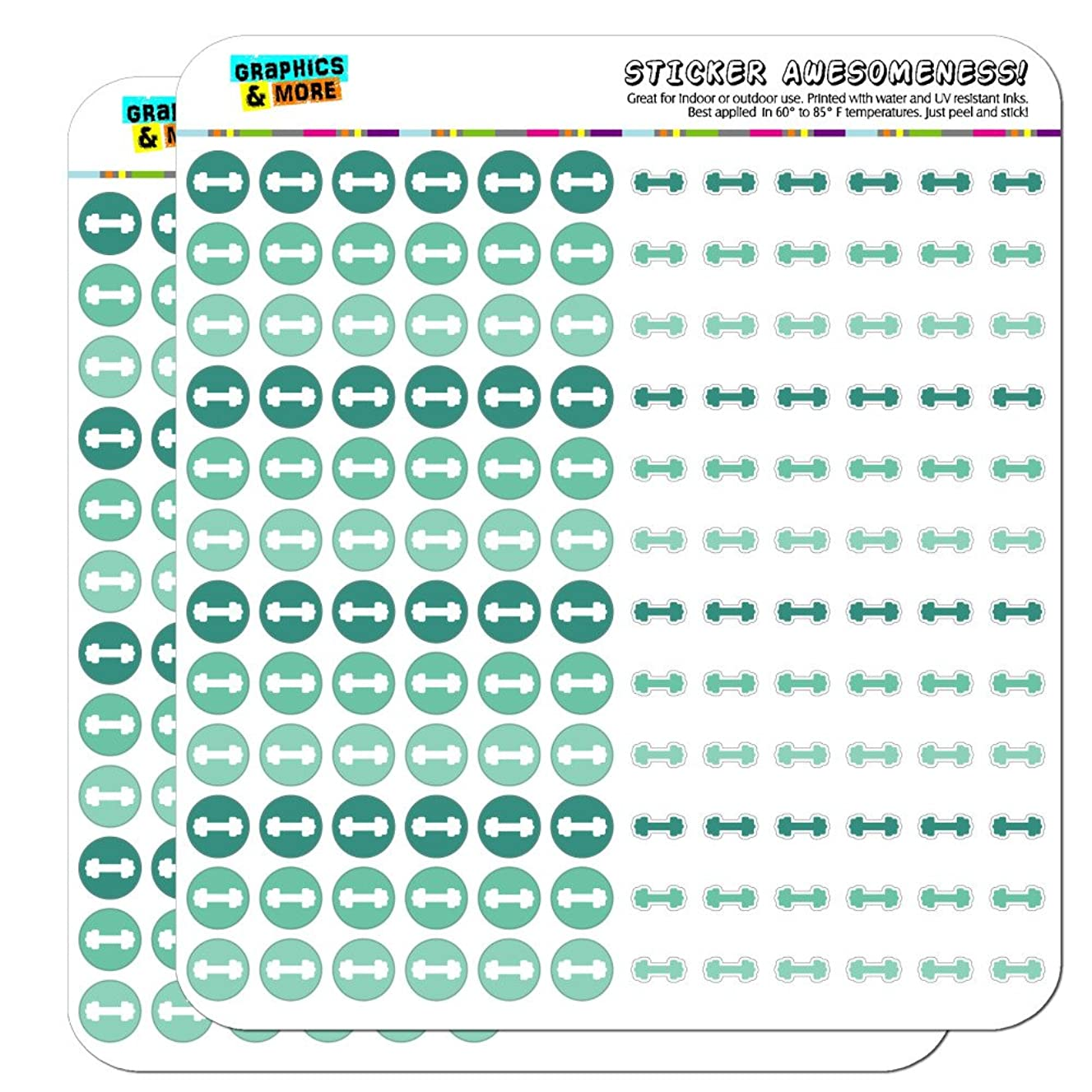 Dumbbell Exercise Weight Lifting Loss Workout Dots Planner Scrapbooking Crafting Stickers - Teal - Clear
