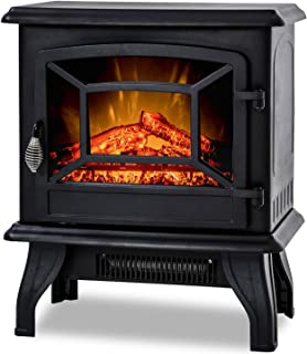 BestMassage Electric Fireplace Heater Stove Portable Space Heater Freestanding Fireplace for Home Office with Realistic Lo...
