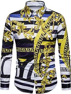 SANHION Mens Paisley Fashion Long Sleeve Luxury Print Dress Shirt