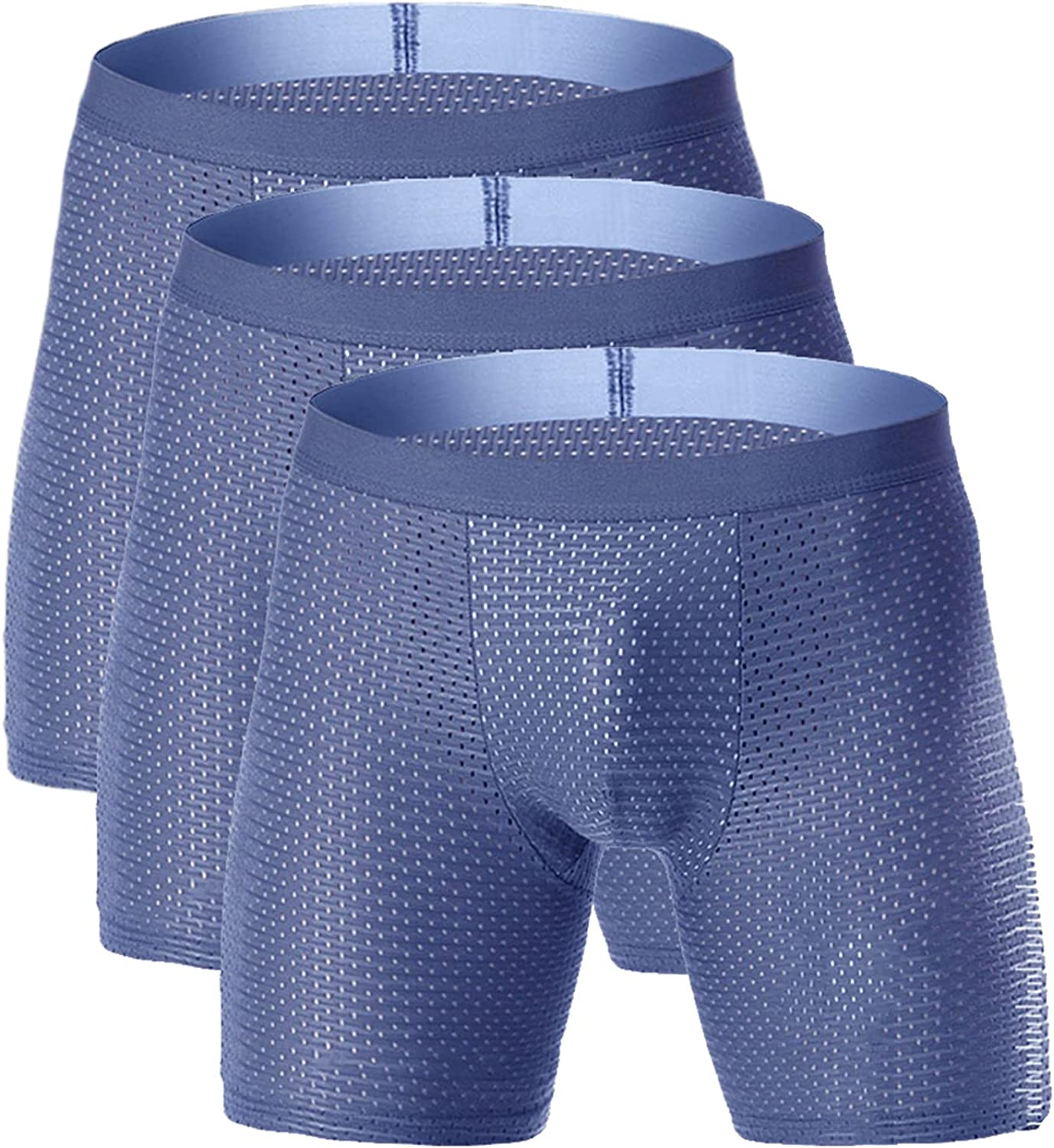 Andongnywell Men's Silky ice Mesh Boxer Briefs Breathable Men's Stretchy Underwear quick-drying panties 3 Pack