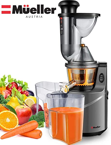 Mueller Austria Ultra Juicer Machine Extractor With Slow Cold Press Masticating Squeezer Mechanism Technology 3 Inch Chute Accepts Whole Fruits And Vegetables Easy Clean Large Nickel
