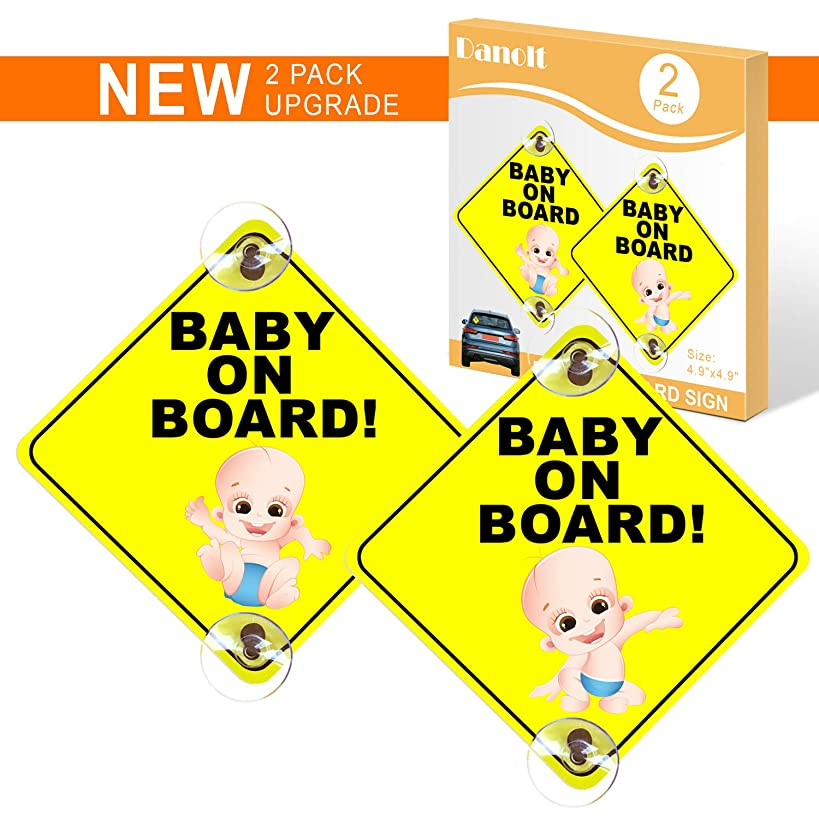 Baby on Board Sign for Car, Danolt 2pcs New Upgrade Reflective Kids Safety Warning Sticker Double Sucker Caution Decals for Driver, Heat Resistant, No Fade, Removable