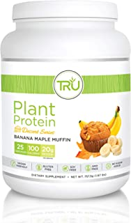 TRU Plant Based Protein Powder, Natural Flavor, Vegan & Keto Friendly, No Artificial Sweeteners, No Dairy, No Soy, 25 Servings (Banana Maple Muffin)