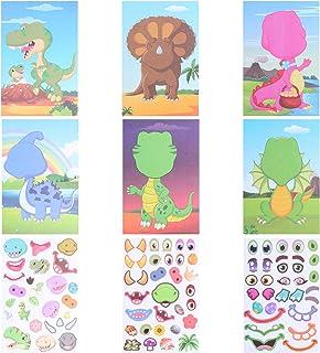 NUOBESTY 1 Set Make Your Own Animal Stickers Adhesive Make A Animal Face Stickers Dinosaur Pattern Art Craft School Reward...