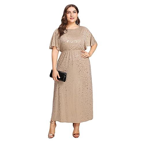 21719a0d28 ESPRLIA Women's Plus Size Sequin Party Club Cocktail Maxi Night Gowns Dress
