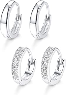 Adramata 2 Pairs 925 Sterling Silver Hoop Huggie Earrings for Women Men Cubic Zirconia Cartilage Cuff CZ Earrings Annivers...