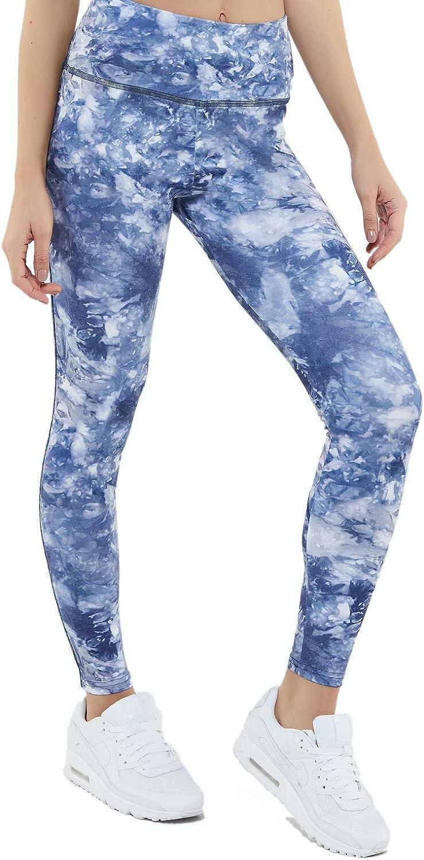 Sumatra Active Malibu Blue Leggings, Tummy Control Workout Yoga Athletic Sports Leggings for Womens