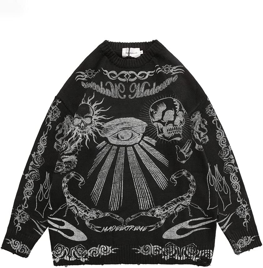 LYYQH Sweater Men Women Graffiti Retro Vintage Knitted Sweater Unisex Cotton Pullover (Color : A, Size : 2XL Code)