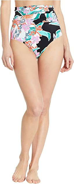 Tropic Wave Shirred High-Waist Bottoms