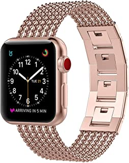 Glebo Flexible Chains Band Compatible with Apple Watch Band 38mm 40mm 42mm 44mm Womens, Stainless Steel iWatch Band Cuff Bangle Accessories Bracelet Strap Bands for Apple Watch Sereries 5 4 3 2 1 Band