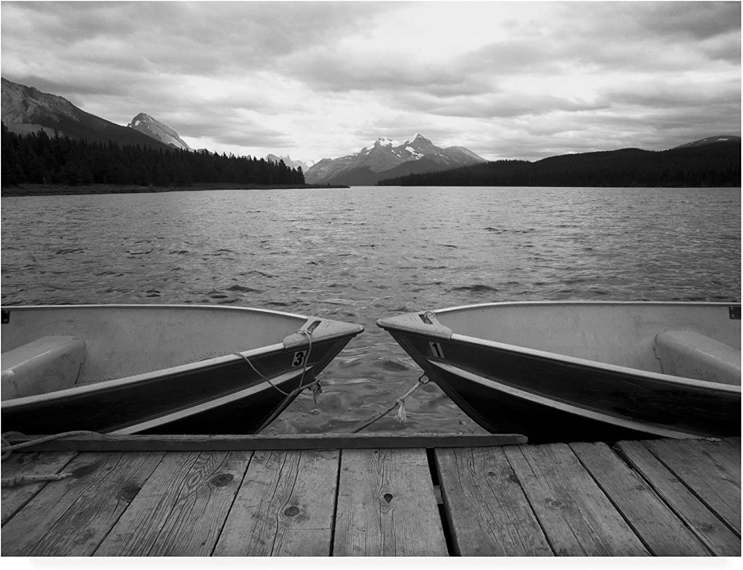 Trademark Fine Art Two Boats at Lake Maligne Canadian Rockies by Monte Nagler, 14x19