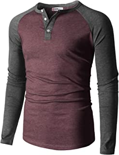 H2H Men Casual Slim Fit T-Shirt Long Sleeve Spandex Blended T-Shirt of Various Styles