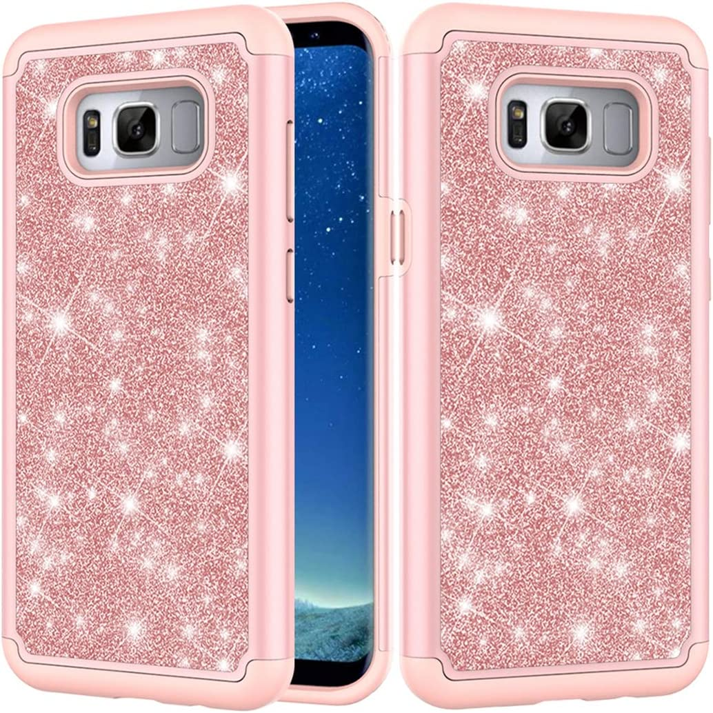 Sidande Phone Case for Galaxy S8 Plus, Samsung S8+ Plus Case, Girls Women Glitter Bling Sparkle Defender Heavy Duty Phone Cover Cases for Samsung Galaxy S8 Plus (Rose Gold)