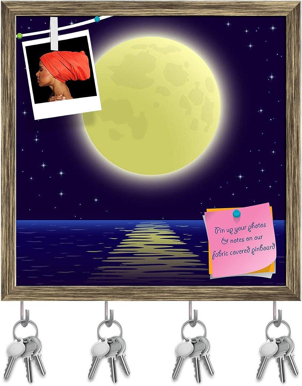 Artzfolio Night Sea Landscape Key Holder Hooks   Notice Pin Board   Antique golden Frame 20 X 20Inch