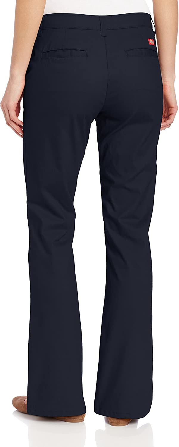 Dickies Women's Flat Front Stretch Twill Pant Slim Fit Bootcut at  Women's Clothing store