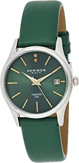 Akribos XXIV Women's Green Diamond Dial Leather Band Watch - AK879GN