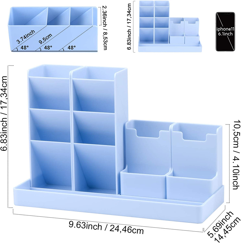 POPRUN Portal/ápices,organizador de escritorio para l/ápices organizador de bol/ígrafos,cajitas de almacenamiento para oficina hogar escuela blanco