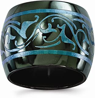 Edward Mirell Black Titanium Anodized Teal Domed 16mm Wedding Ring Band Classic Fancy Designed Fashion Jewelry for Women
