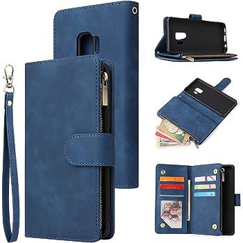 UEEBAI Wallet Case for Samsung Galaxy S9, Premium Vintage PU Leather Magnetic Closure Handbag Zipper Pocket Case Kickstand Card Holder Slots with Wrist Strap TPU Shockproof Flip Cover - Blue