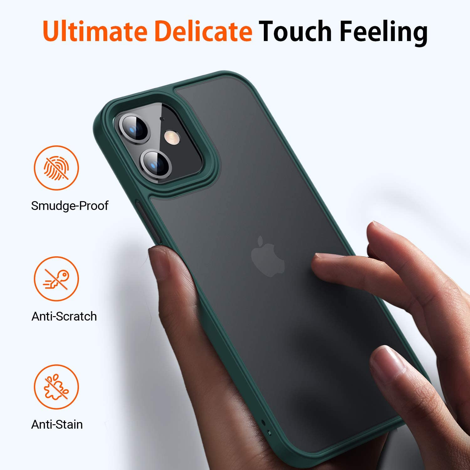 TORRAS Shockproof Compatible for iPhone 12 Case/Compatible for iPhone 12 Pro Case, [Military Grade Drop Tested] Translucent Matte Hard PC Back with Soft Silicone Edge Slim Protective Guardian, Green