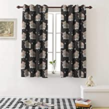 shenglv Kids Decor Curtains by Adorable Teddy Bears Sleeping on Clouds with Stars and Dots Night Time Dream Curtains Girls Bedroom W63 x L63 Inch Dark Taupe Tan White