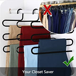Ivanic Stainless Metal S-Shape 5 Layers Trouser Pants Hanger - Set of 3