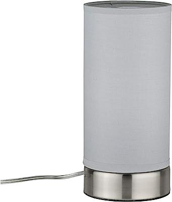 Paulmann 77058 Pia MAX Mesa de 25 W, Color Blanco, Hierro Cepillado, salón, Metal, lámpara de Noche, E14