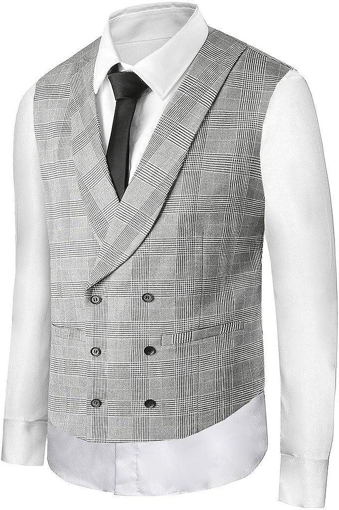 Hanayome Men's Fashion Business V-Neck Casual Slim Fit Suit Vest Plus Size Jacket SI2