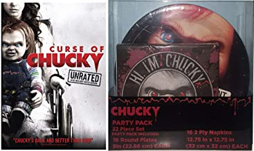Party Curse Chucky Wants To Play DVD & Child's Play Halloween Plates & Napkins Horror Theme Movie Bundle