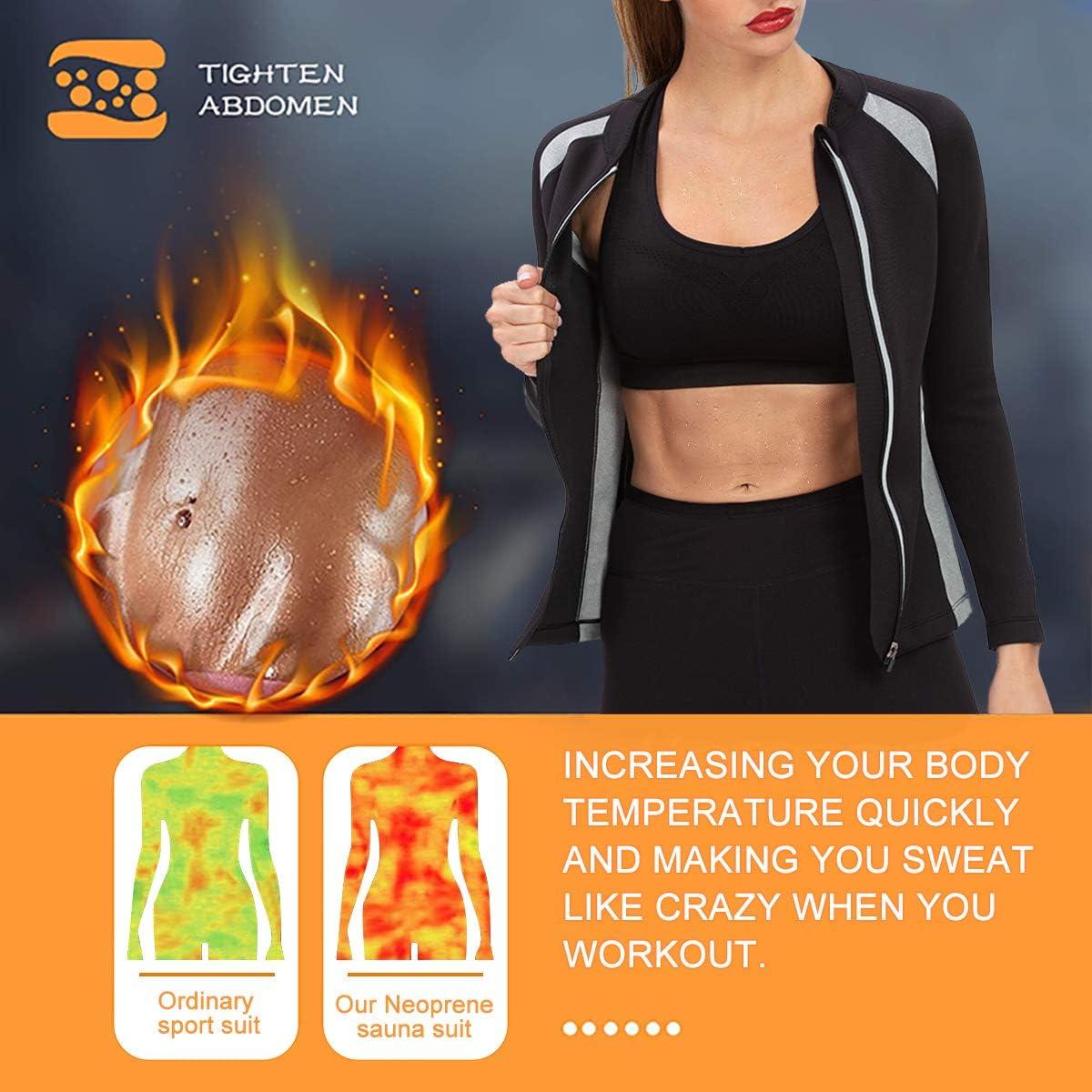 DoLoveY Sauna Jacket For Women Hot Sweat Workout Shirt Body Shaper Neoprene Long Sleeve Slim Sport Top : Sports & Outdoors