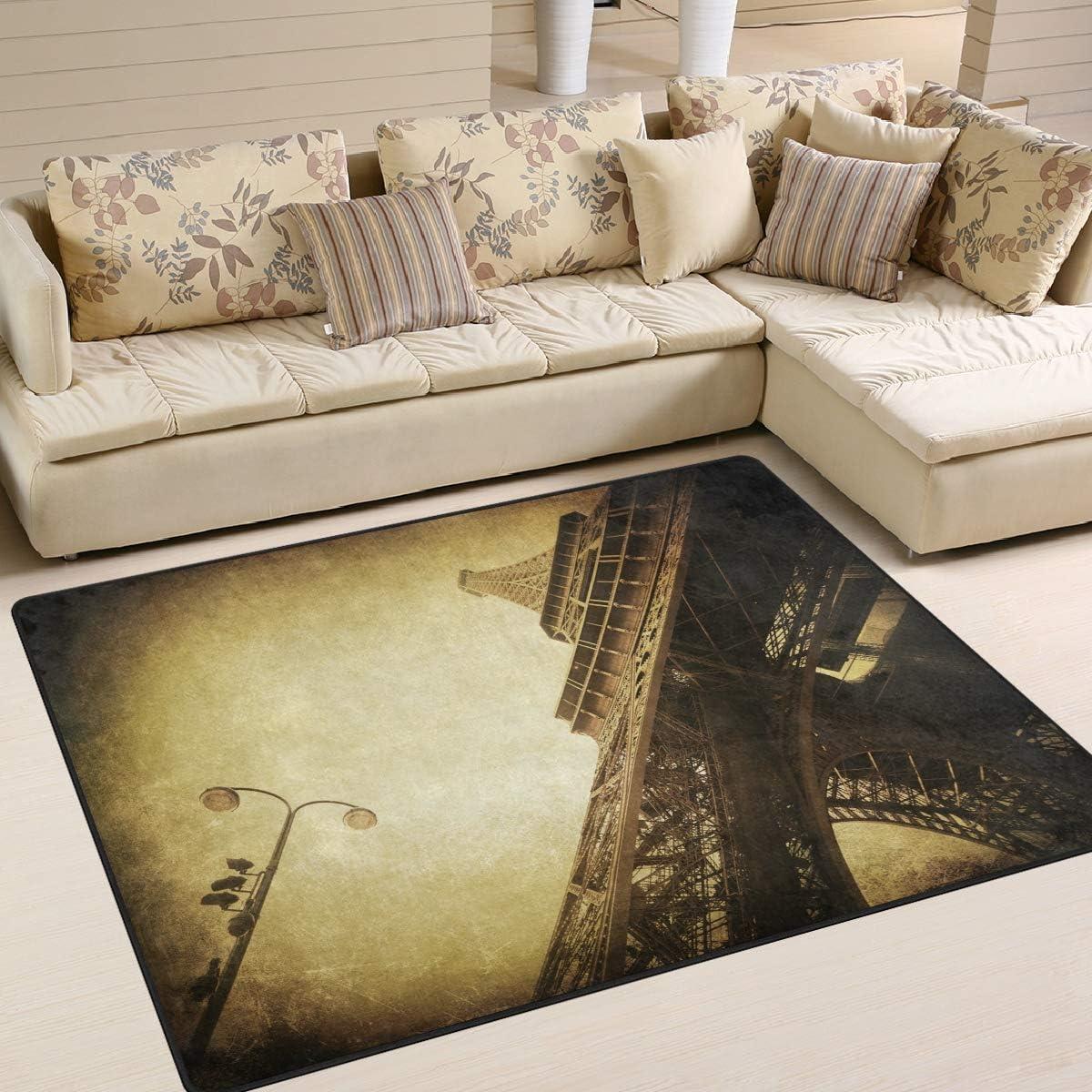 ALAZA Vintage Paris Eiffel Tower France Rug lowest price OFFicial site Landmark Area Street