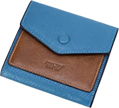 Itslife Small Wallets for Women Rfid Blocking Ladies Soft Leather Credit Card Holder Thin Bifold Pocket Purse for Girls (Natural Light Blue & Waxed Brown)