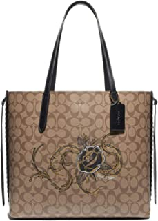 Coach Large Tote Shoulder Bag in Signature Canvas with Chelsea Champlain Animation F76778