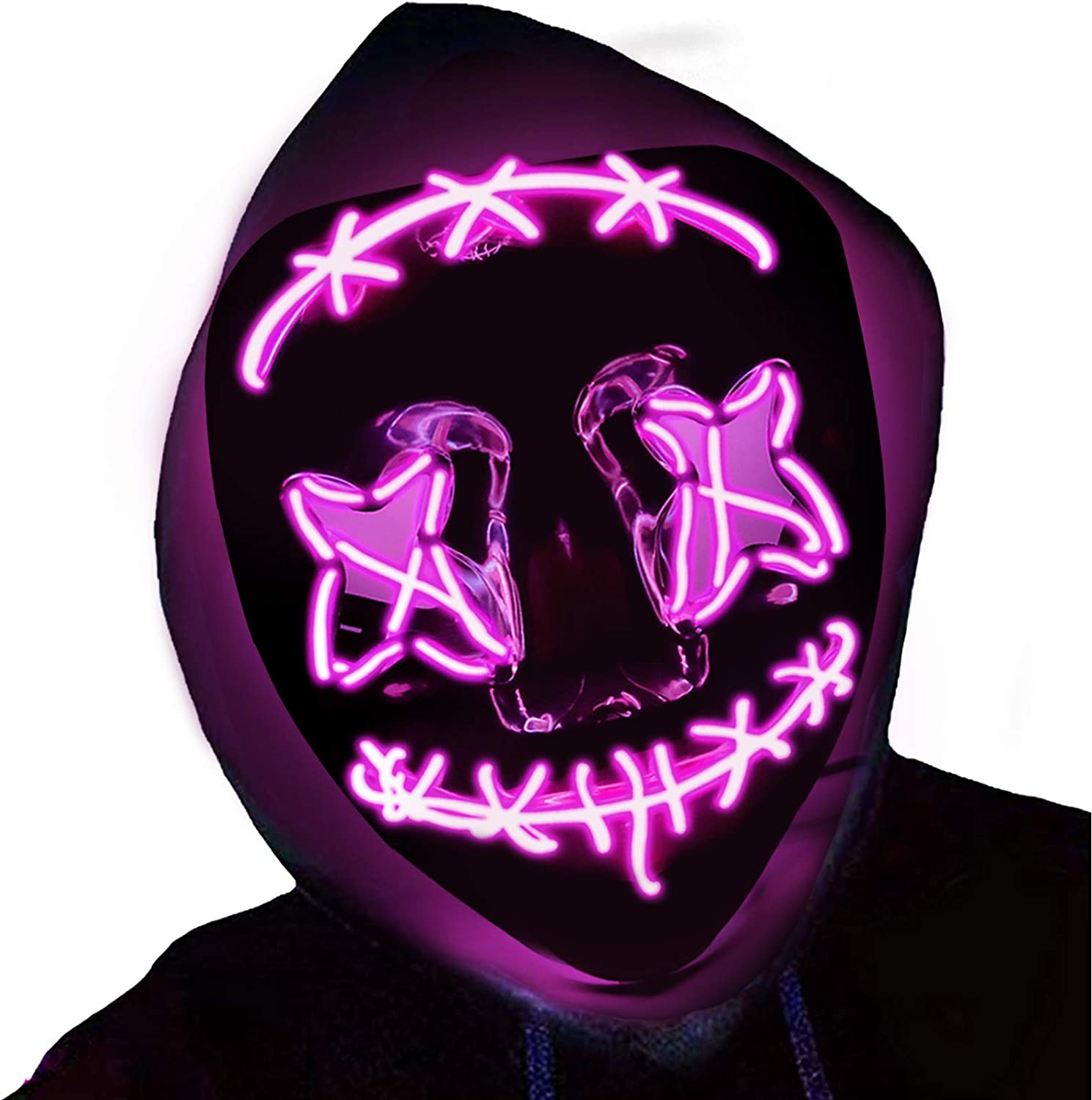 Halloween Light up Mask LED Scary Masks Glow in The Dark Party Masks Halloween Cosplay Supplies 2020 New Upgraded