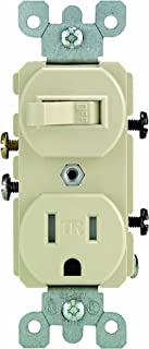 Leviton T5225-I Combination, 15 Amp, 120 Volt AC Toggle Switch, and 15 Amp, 125 Volt 5-15R Tamper Resistant Receptacle, Grounding, Ivory