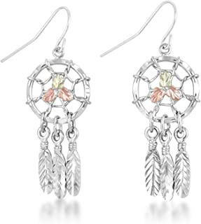 Dream Catcher Earrings, Sterling Silver, 12k Green and Rose Gold Black Hills Gold Motif