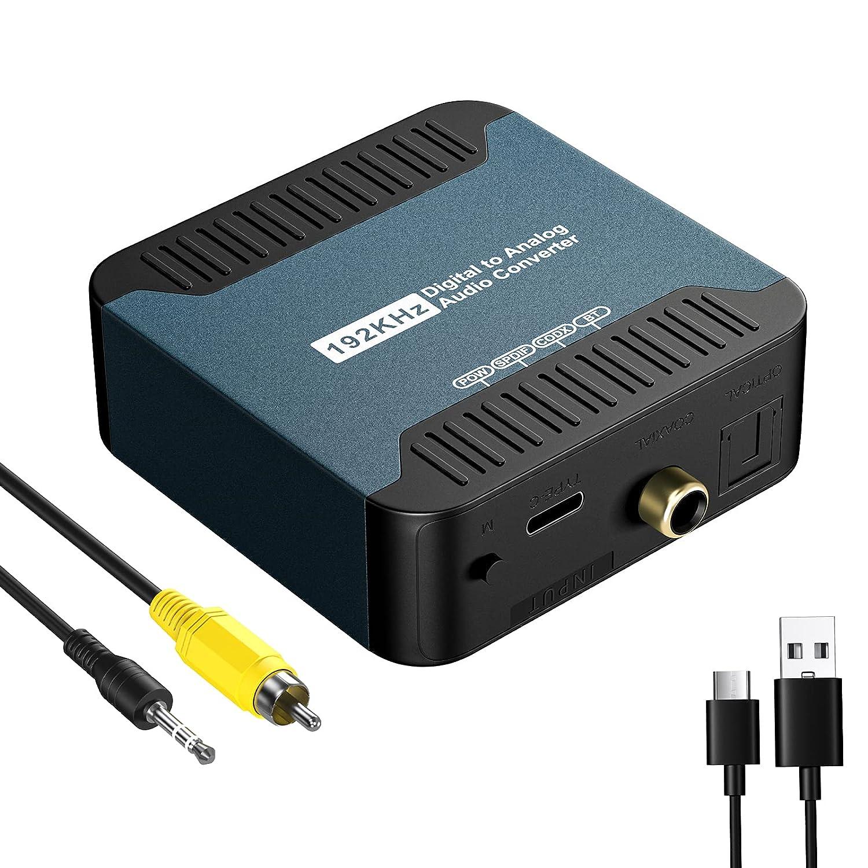 KOVCDVI DAC Convertidor Digital a Analógico 192kHz con Bluetooth Conversores Audio Óptico Toslink Coaxial a RCA L/R con conector de 3,5 mm para HDTV PS3 PS4 DVD Blu-Ray Amplificador AV